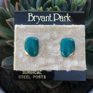 Surgical Steel Emerald Green Gold Vintage Earrings